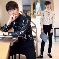 年 春装新款 欧美牛货精品3D印花修身男士长袖衬衫 潮衬衣