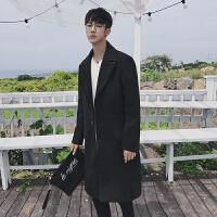 新款男装2018港风呢子风衣男毛呢大衣韩版修身贴袋长款个性大衣外