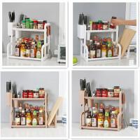 门扉 厨房置物架 多功能双层收纳架厨房调味架菜板架厨房置物收纳架