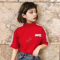 字母T恤女短袖夏季2018新款韩版原宿风bf宽松显瘦半高领休闲上衣