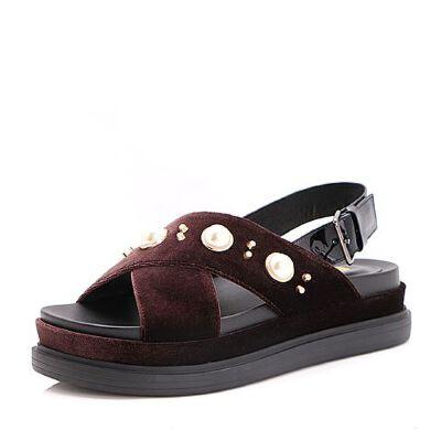 Belle/百丽2017夏珍珠休闲纺织品/牛皮女凉鞋32301BL7