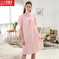 红豆居家睡衣女纯棉长袖短裙可外穿时尚印花套头可爱宽松睡裙