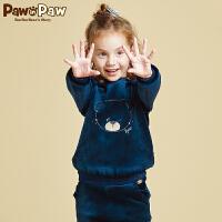 【2件2.5折 到手价:125】Pawinpaw宝英宝卡通小熊童装冬季款女童圆领卫衣绒面加绒套头衫