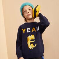 【2件3折:85】巴拉巴拉旗下巴帝巴帝男童毛衣19年秋冬新中大童可爱印花儿童套头毛衫