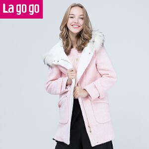 拉谷谷lagogo2016年冬季新款时尚拉链连帽毛呢大衣