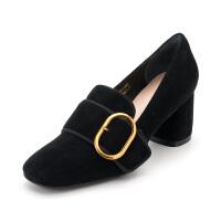 迪芙斯(D:FUSE)女鞋 秋季羊皮革皮带扣粗跟休闲单鞋 DF83112688