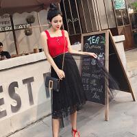 2018欧美小香风时尚套装绑带针织背心+高腰网纱蕾丝半身裙两件套