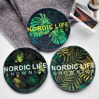 北欧简约现代植物杯垫 置物垫餐垫 布艺时尚茶杯垫