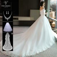 新娘婚纱礼服2018新款冬季中袖一字肩长拖尾大码显瘦齐地结婚