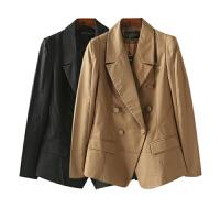 女装秋冬装 简约风纯色双排扣女士西服长袖外套女职业装