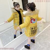女童棉衣2018新款韩版童装冬款儿童中长款加厚毛领女孩棉袄潮