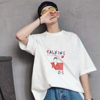 2018日系韩版卡通字母圆领港风青年蝙蝠袖短袖宽松潮流T恤衫男tee