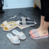 夏季洗澡情侣室内可爱女士水晶凉拖鞋拖鞋女浴室时尚欧美居家居拖