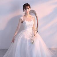 新娘婚纱礼服2018新款短款中长款春季小个子结婚韩版公主孕妇婚纱 白色