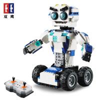 拼装插模型遥控机器人电动玩具双鹰咔搭积木