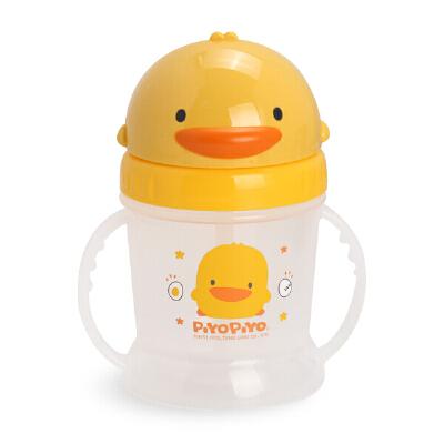 黄色小鸭PIYOPIYO 滑盖自动吸管PP练习杯 宝宝喝水杯可爱造型