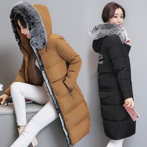尾品汇全场满99-10 199-30  SOOSSN 2017冬季加厚棉衣女 中长款过膝修身大毛领棉袄棉服外套 XJM570A10105
