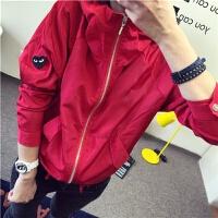 红心外套女士秋季新休闲学生带帽薄工装风衣夹克衫潮流时尚 2X