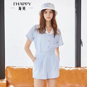 2018夏季新款女装 蓝色印花翻领短袖衬衫短裤热裤时尚上下套装