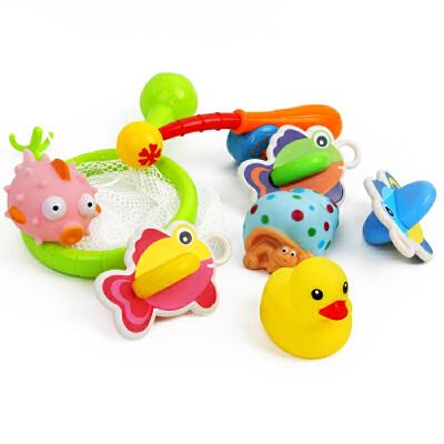橙爱乐趣钓鱼套装 捞鱼沐浴戏水海洋生物捏捏叫婴幼儿童洗澡玩具益智玩具限时钜惠