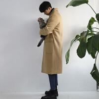 青年韩版修身长款过膝风衣卡其色外套秋冬装中长款男士毛呢大衣