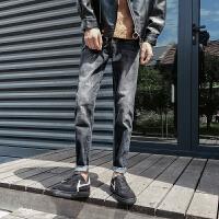 男士牛仔裤春季新款韩版休闲裤复古水洗修身长裤青少年潮流裤子男