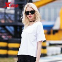 特步女子短袖针织衫2018夏季新品时尚舒适潮流轻便简约女士短T恤882228019141