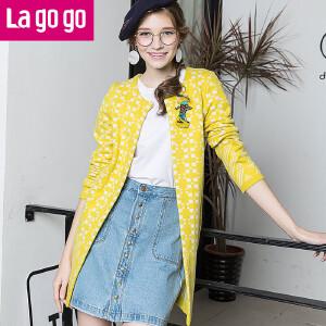 lagogo新款宽松毛衣纯色中长款长袖圆领针织衫开衫女修身百搭外套