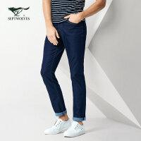 七匹狼牛仔裤 2018年休闲新款长裤修身小脚中腰牛仔长裤 男装正品
