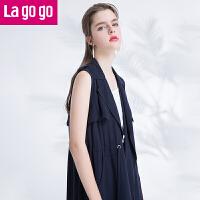 【618大促-每满100减50】Lagogo2017夏季新款直筒黑/白色外套开衫女西装马甲外搭中长款