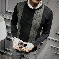 新款秋冬男士针织衫长袖毛衣S码韩版个性假两件线衫160男生毛衣