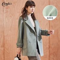 【3折到手价:239】呢子大衣女冬季新款韩版宽松流行羊毛外衣西装领中长毛呢外套