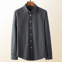 Lee Cooper春季天丝面料长袖衬衫韩版潮流条纹男士休闲衬衣帅气上衣男式衬衫