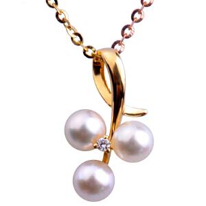 梦克拉 18k金钻石珍珠项坠吊坠 雅洁 淡水珍珠项链 可礼品卡购买