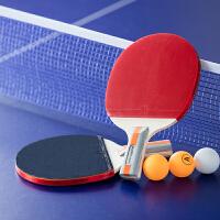 乒乓球拍 直拍+三颗球 双拍 安格耐特F2320星级双面反胶短柄家庭休闲运动 学生初学