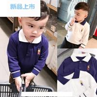 妈 男宝宝纯棉长袖T恤春装婴儿POLO领上衣婴童装休闲打底衫