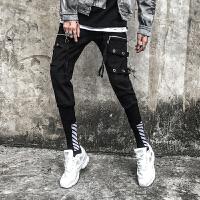 新款秋款个性工装束脚休闲裤男韩版街舞运动小脚哈伦裤夜店靴裤