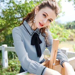 安妮纯白衬衫女长袖2020春秋新款韩版蝴蝶结OL职业雪纺上衣打底衬衣