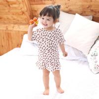 女童睡裙新款儿童睡衣夏短袖公主小童薄款婴儿连体睡衣