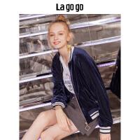 【清仓3折价167.7】Lagogo/拉谷谷2019秋季新款港风复古灯芯绒刺绣棒球衫外套女