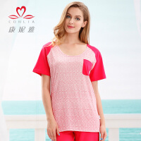 康妮雅家居服夏装新品 女 樱草红棉质短袖睡衣套装 可外穿