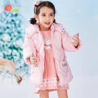 贝贝怡女宝连帽外套冬装新款洋气儿童加厚保暖防风棉服棉袄194S2249