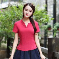 夏装新款中国风文艺复古棉麻上衣女短袖简约盘扣棉麻女装修身显瘦