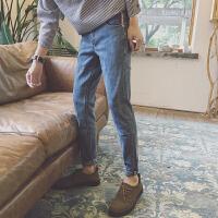 牛仔裤男修身薄款黑色男士裤子宽松九分裤青少年韩版牛子裤小脚裤