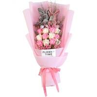 满天星干花花束永生花生日礼物女生节礼物玫瑰玩偶花束惊喜的创意节日礼品 干花包