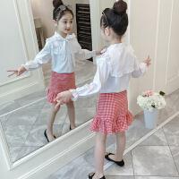 【到手价:84元】童装2020春秋新款女童领结白衬衫套装儿童上衣+半身裙女孩两件套