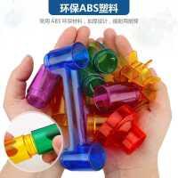 大�w粒彩色太空�L珠�道�e木拼�b水管滑道式��珠�和�益智拼插玩具