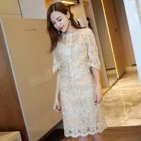 泰国潮牌欧根纱重工刺绣礼服裙名媛复古修身蕾丝连衣裙女中长裙子 金色