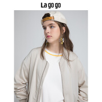 【5折价191】Lagogo/拉谷谷2018年秋季新款时尚学院风刺绣长袖外套HCWW537M57