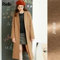 驼色毛呢大衣女中长款2017新款韩国学生春季过膝原宿风呢子外套